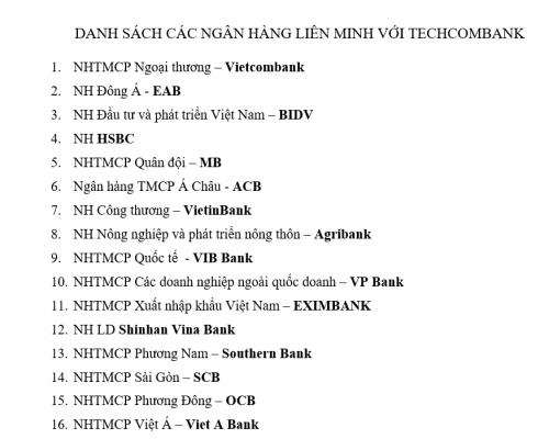 Thẻ techcombank rút được ở ngân hàng nào 1